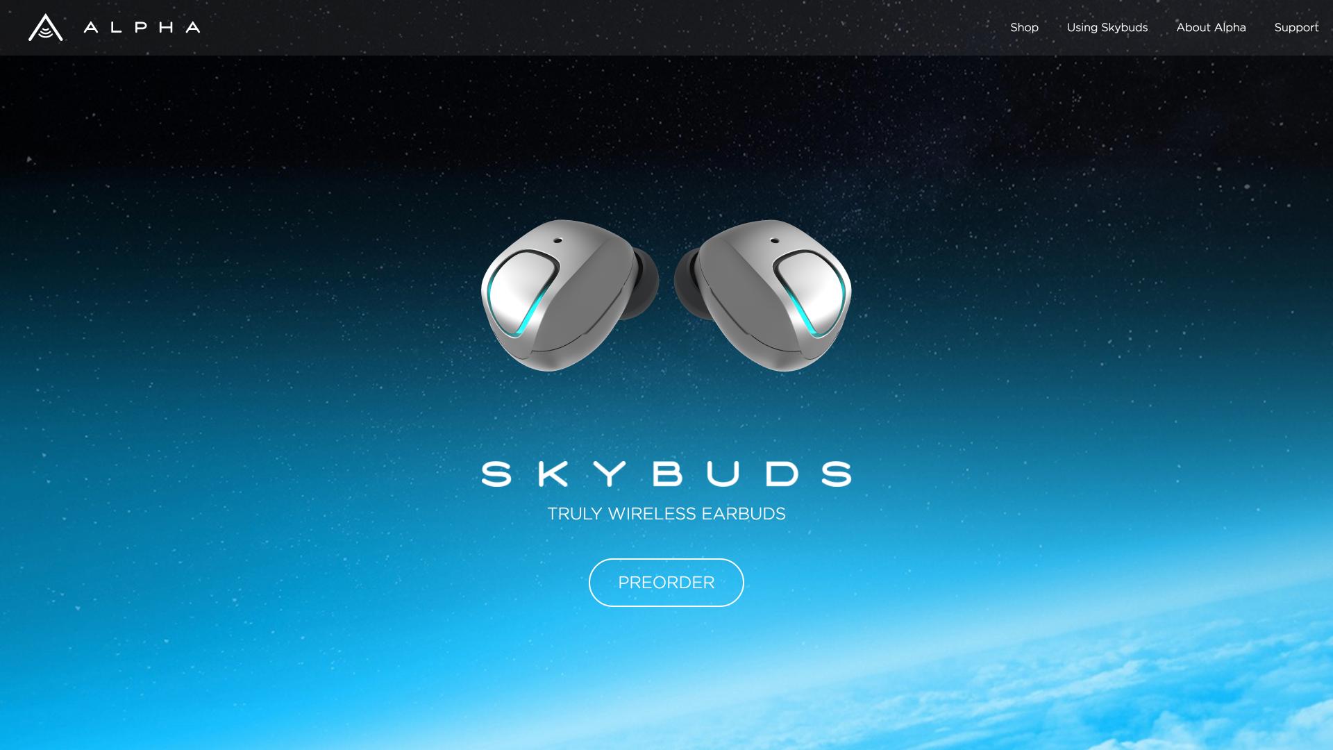 SkyBuds Website Design Preview