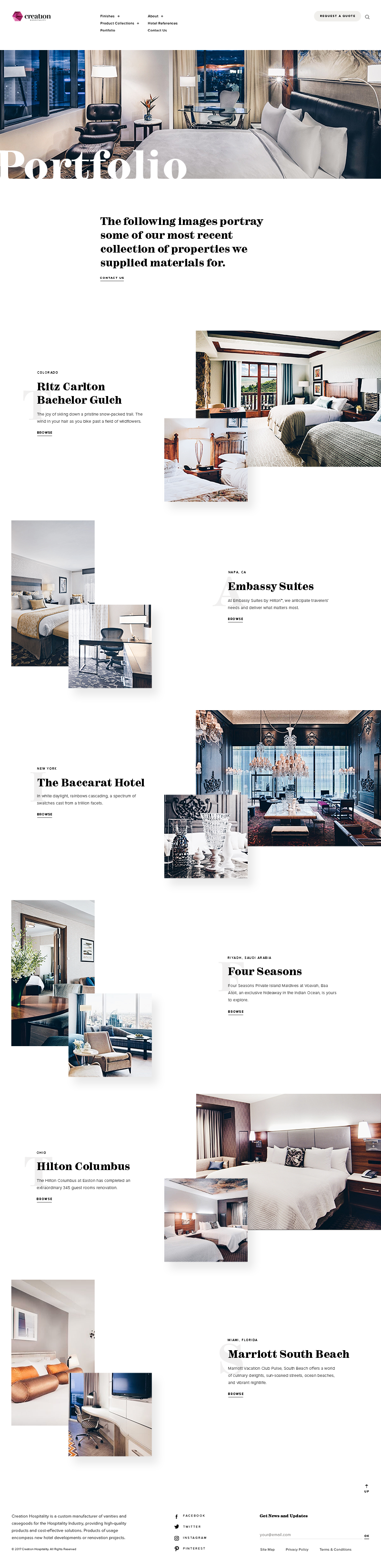 Creation Hospitality Web Design