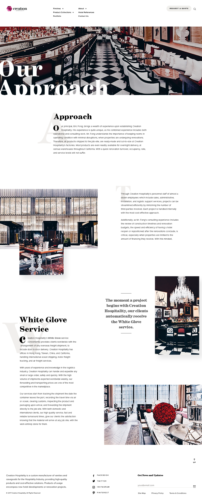 Creation Hospitality Web Design