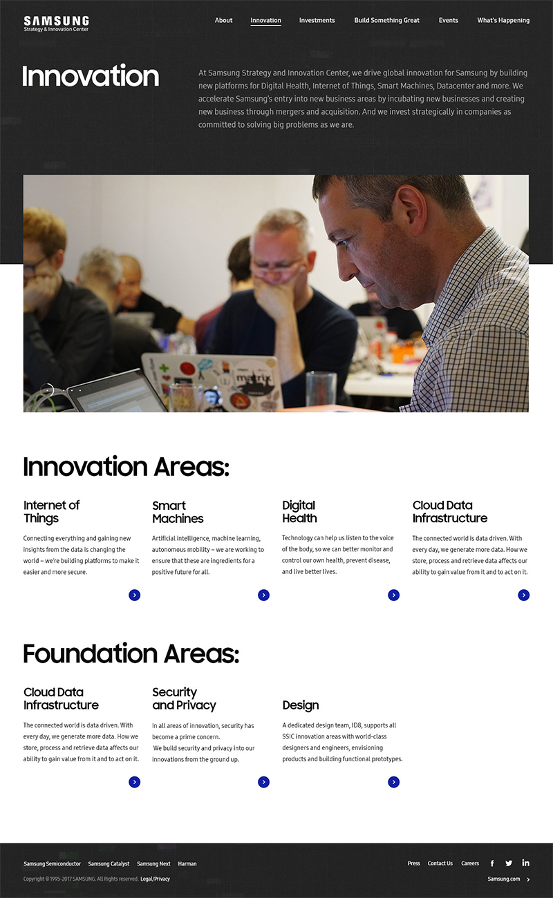 Samsung Strategy & Innovation Center - SSIC Innovation Page ScreenShot