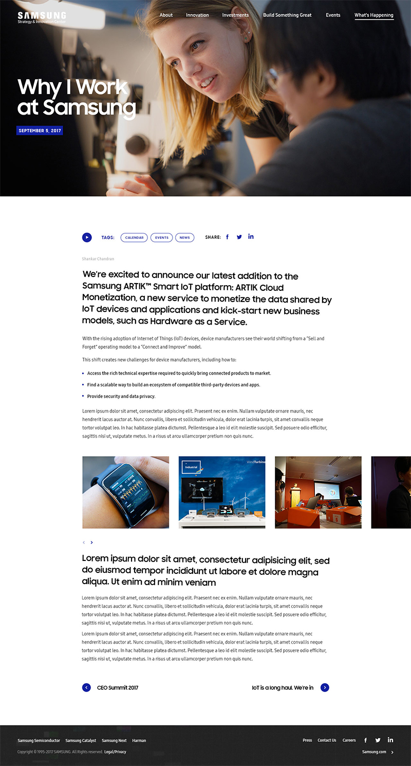 Samsung Strategy & Innovation Center - SSIC Blog Page ScreenShot
