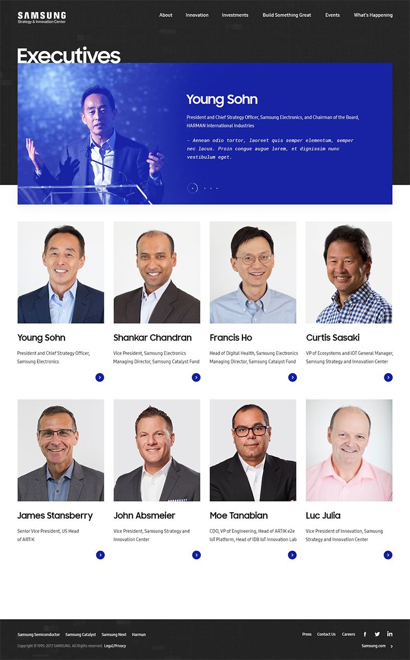 Samsung Strategy & Innovation Center - SSIC Executives Page ScreenShot
