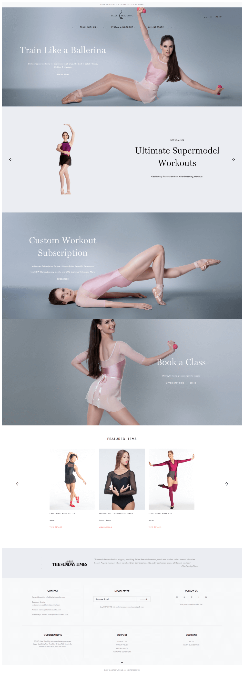 Ballet Beatiful Page Screenshot