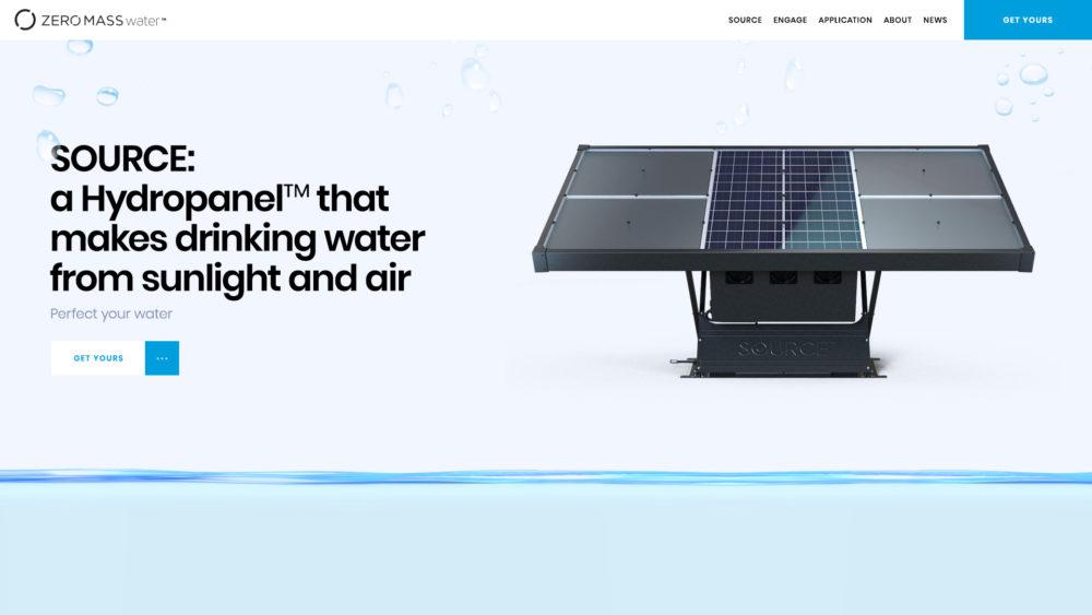 ZeromassWater Home Page Screenshot