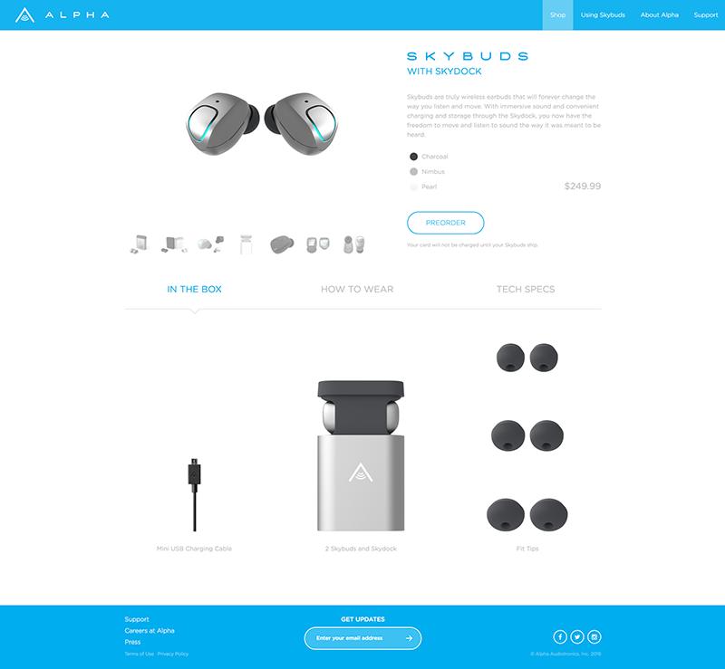 SkyBuds Page Screenshot