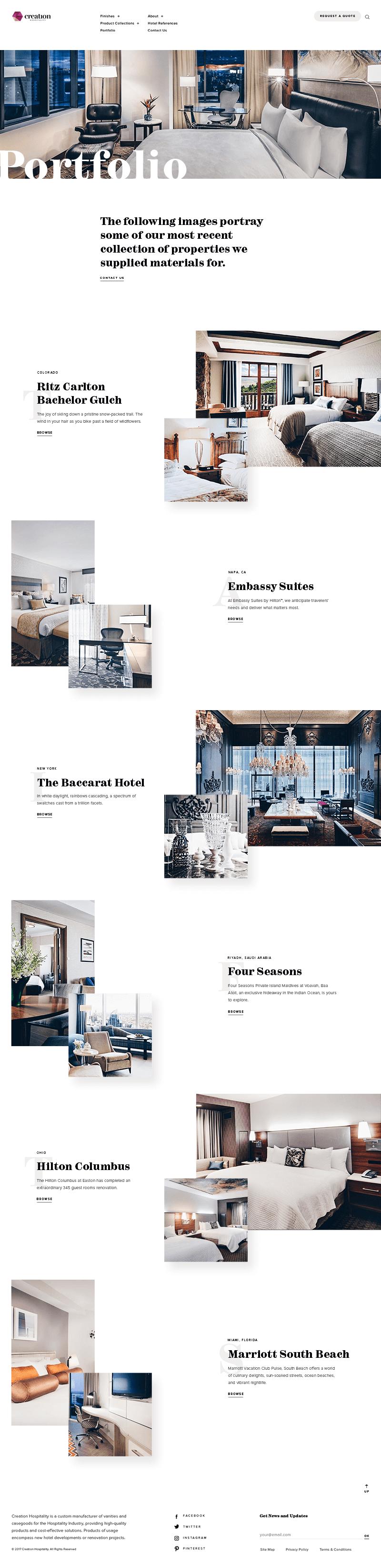 Creation Hospitality Home Page Screenshot