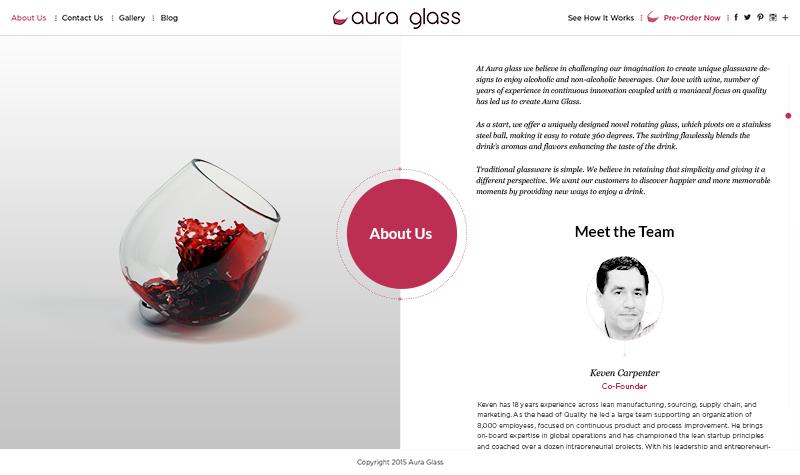 Aura glass Page Screenshot