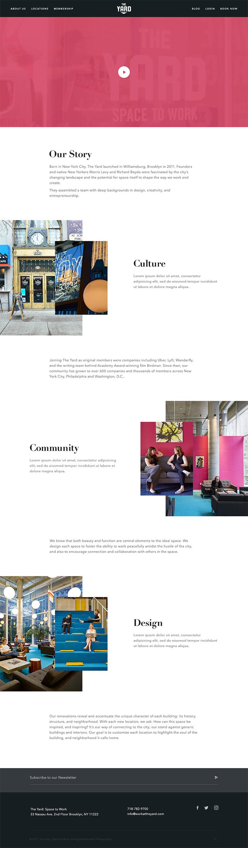 The Yard Page Screenshot