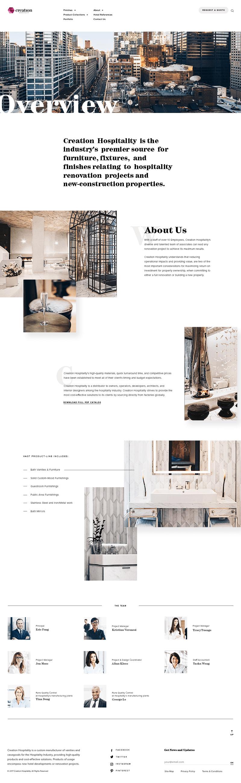Creation Hospitality Page Screenshot