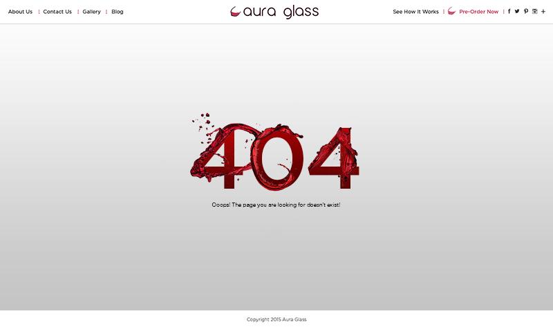 Aura glass 404 Page Screenshot