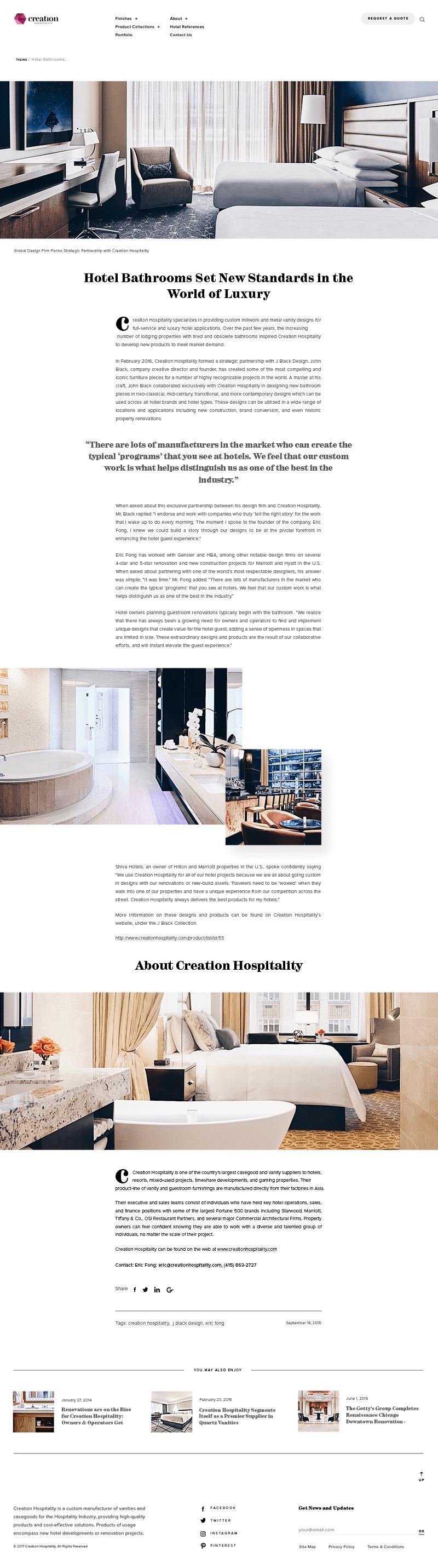 Creation Hospitality News Page Screenshot