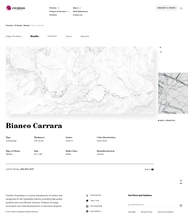 Creation Hospitality Product Page Screenshot