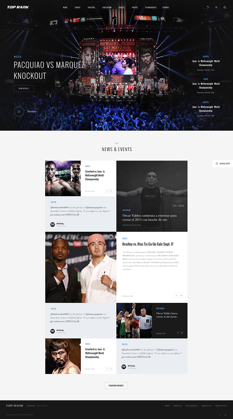 TopRank Portfolio Page Screenshot