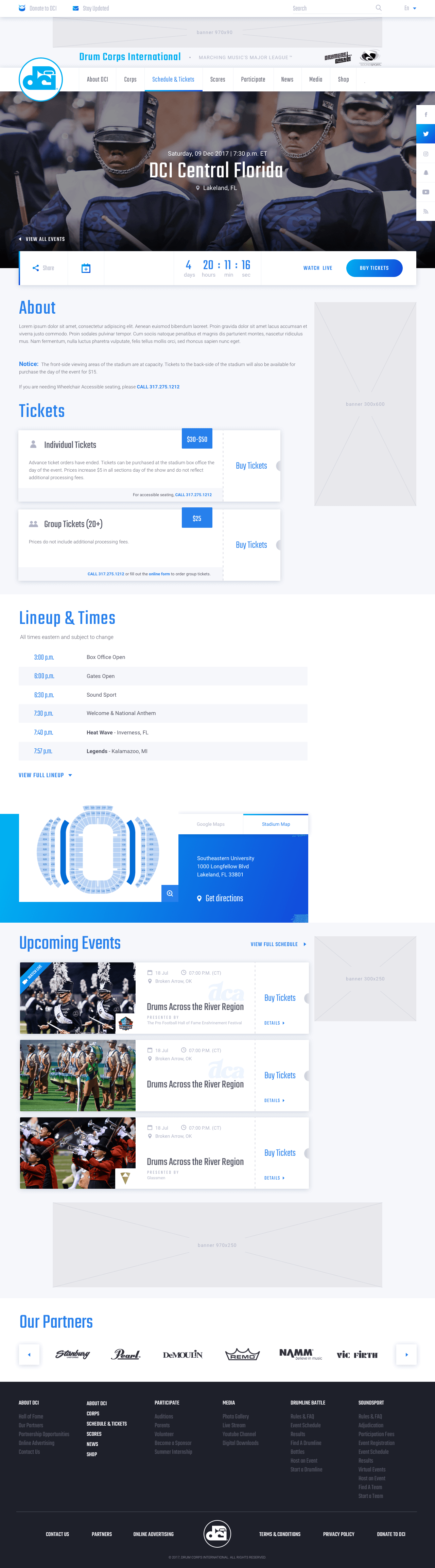 Drum Corps International Web Design