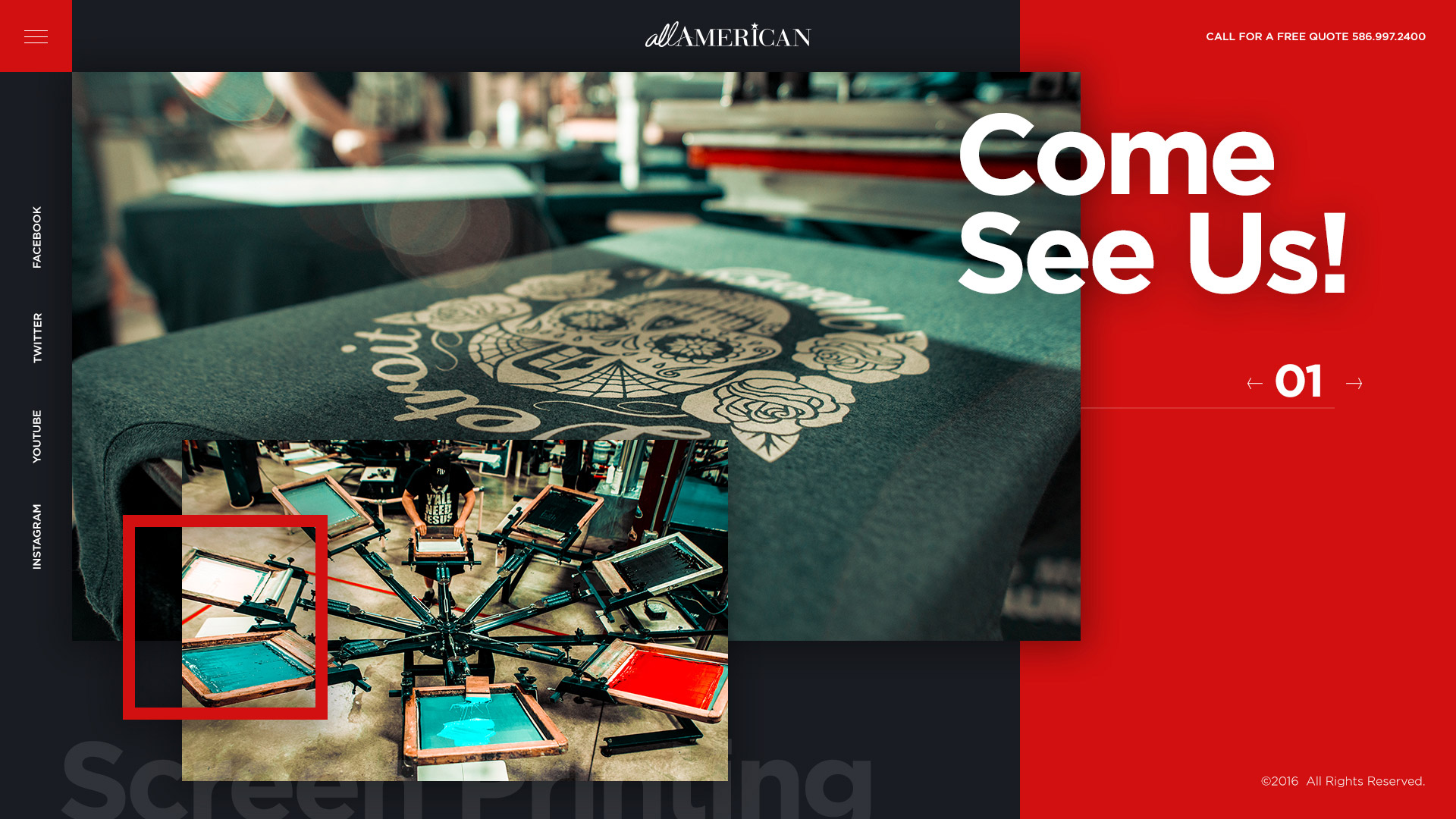 All American Screen Printing & Embroidery Website Design Preview
