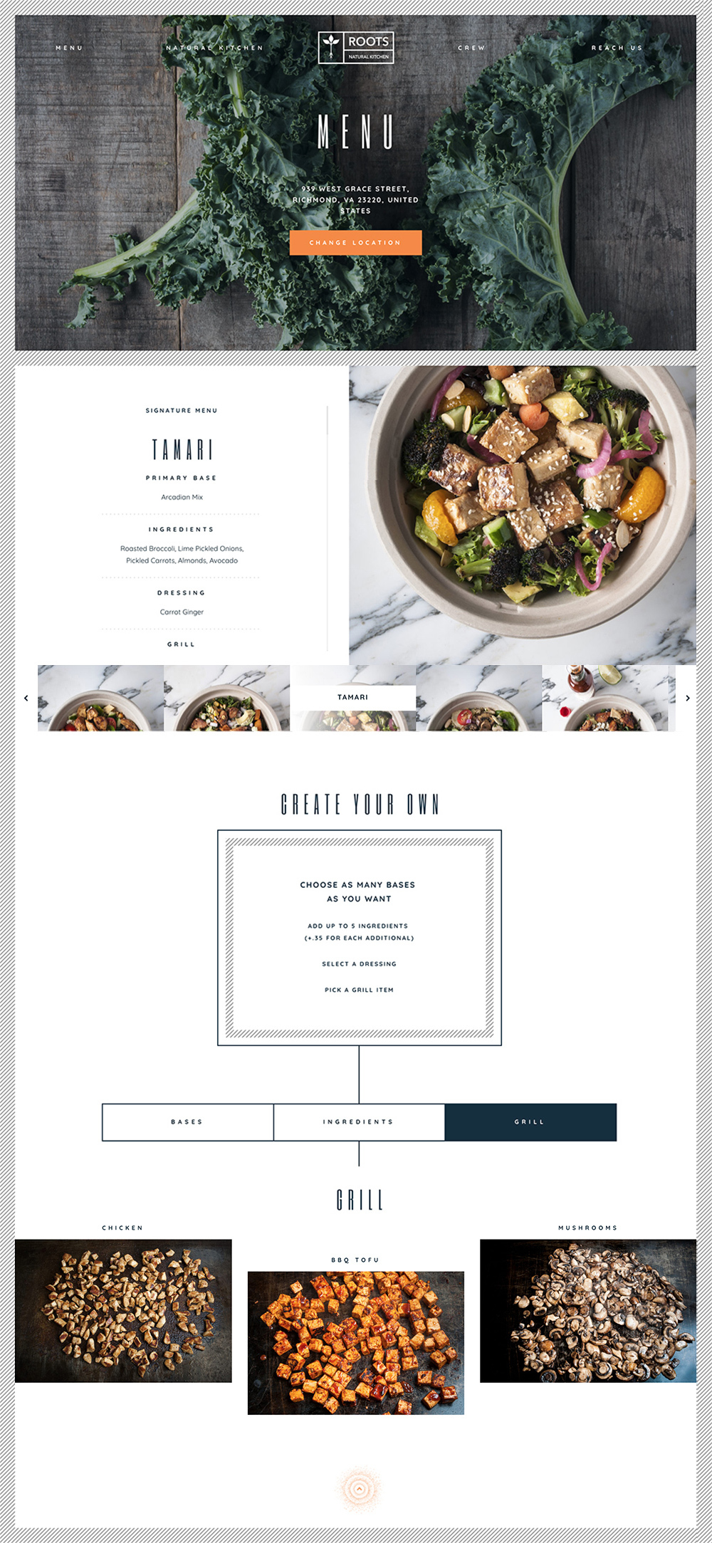 Roots Natural Kitchen Web Design