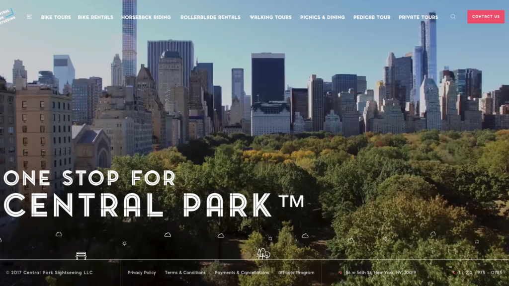 Central Park Sightseeing Web Design Preview