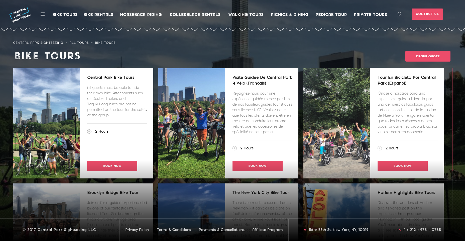 Central Park Sightseeing Web Design