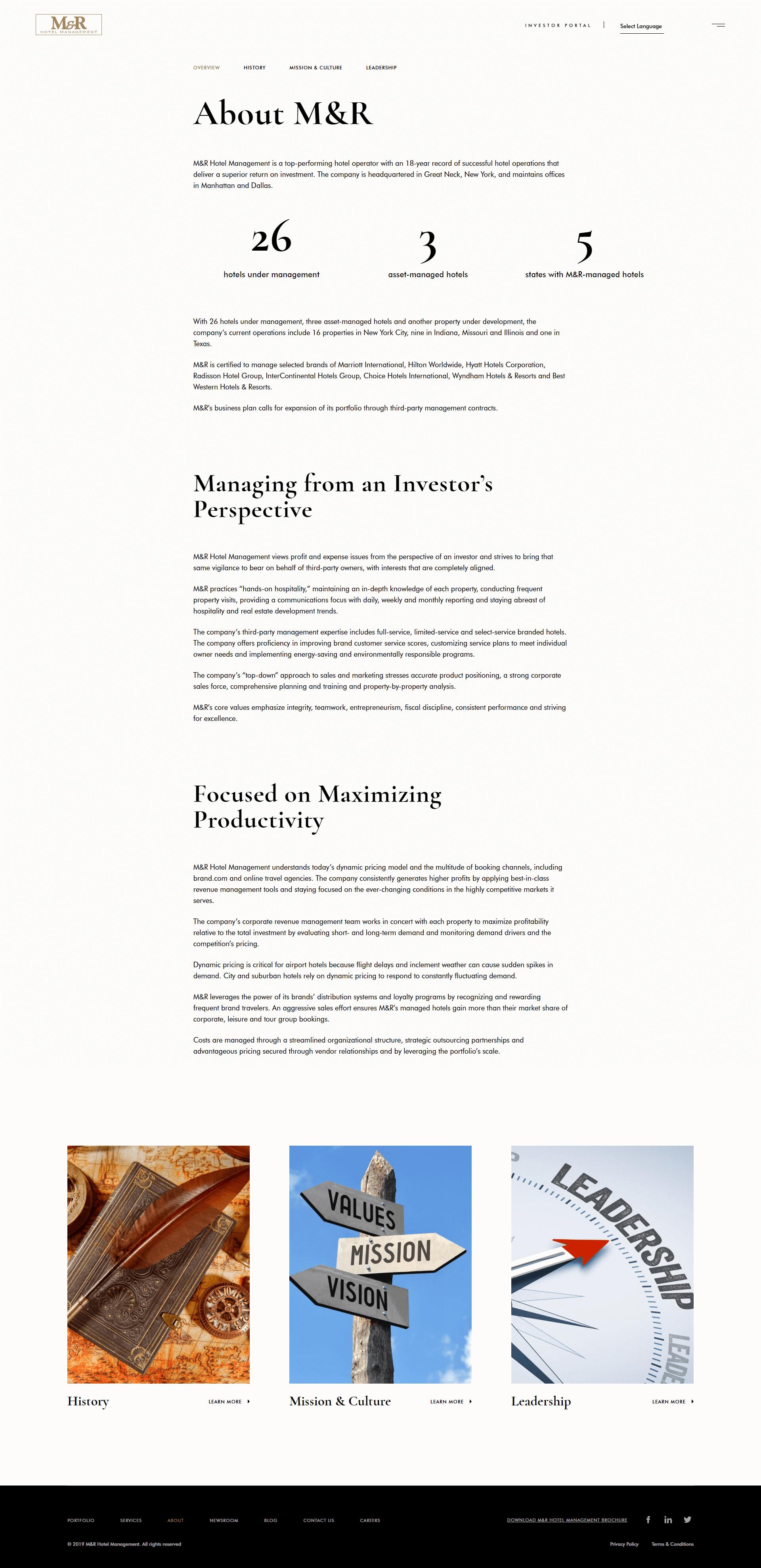M&R Hotel Management Web Design & Development - BigDropInc com